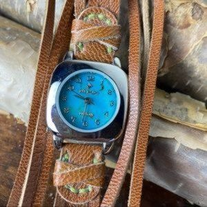 SILPADA Rare Leather Turquoise Face Watch Like New